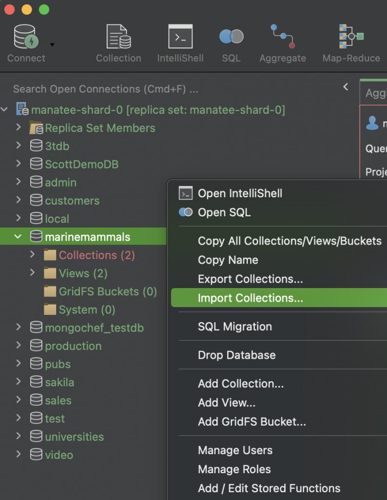 MongoDB Charts - Import collection