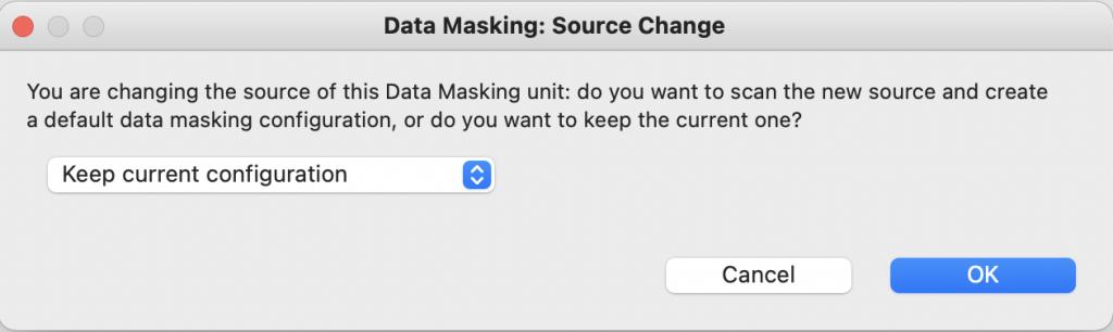 Change source in Data Masking