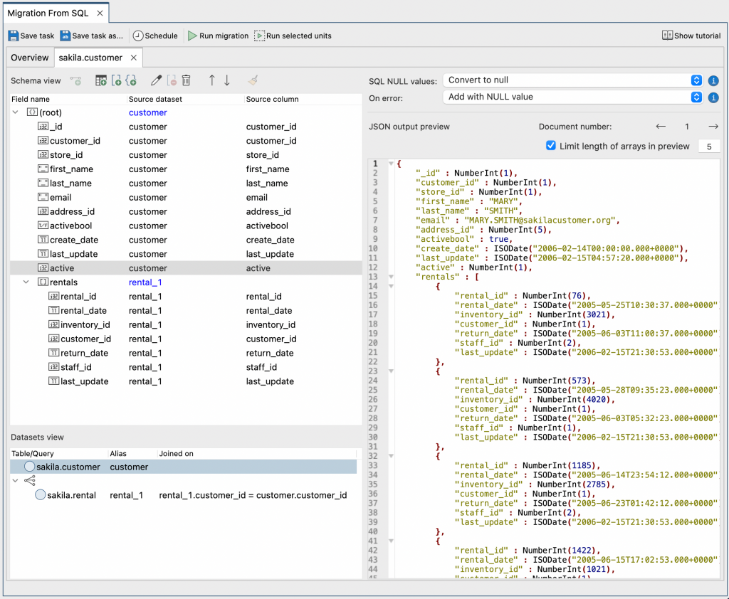 Studio 3T's SQL to MongoDB Migration