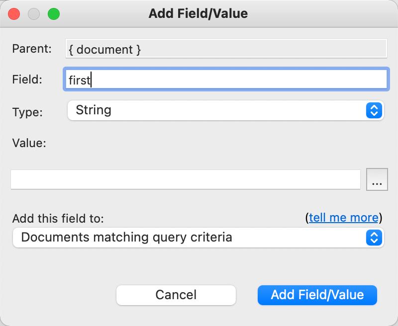 Add Field/Value Dialog