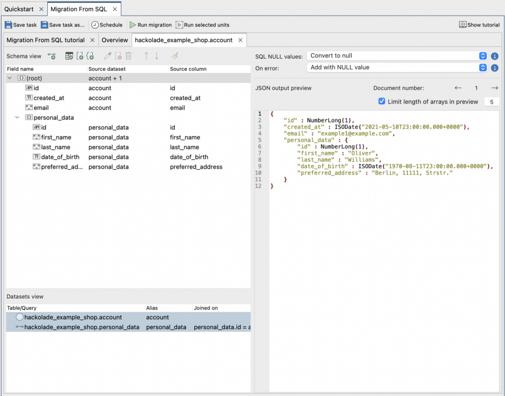 Hackolade model translated to Studio 3T mappings