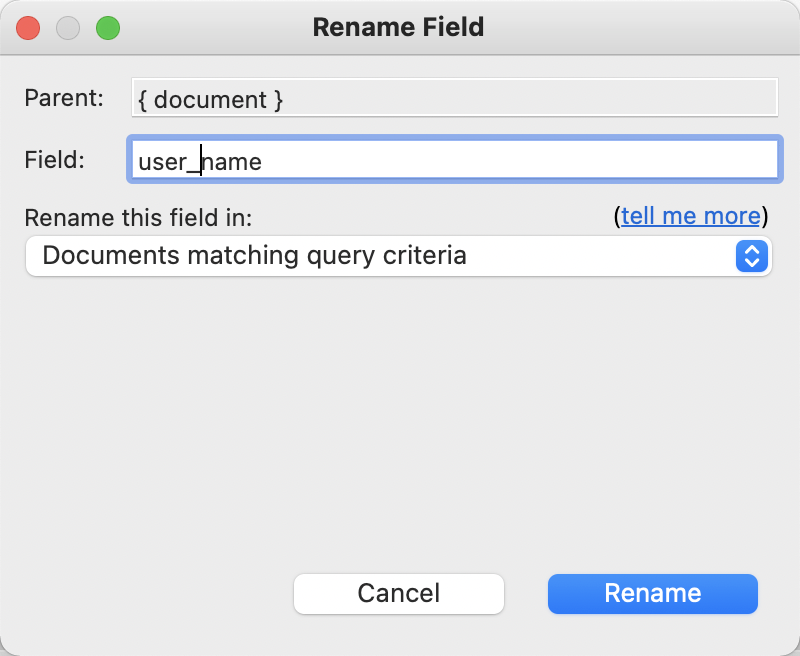 The Rename Field dialog