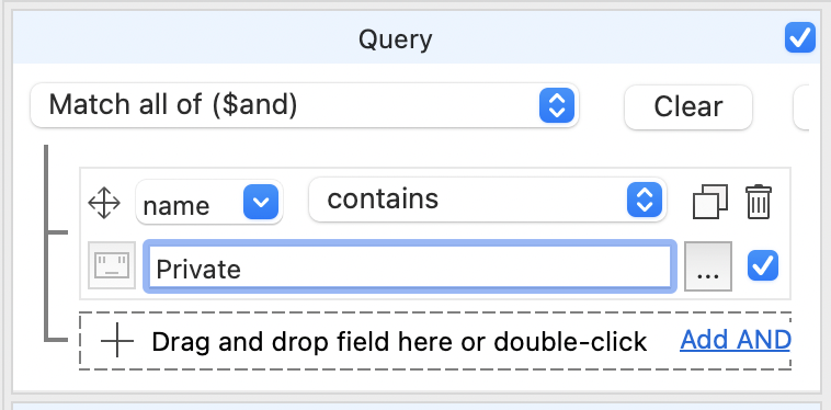 The contains operation in the Visual Query Builder actually creates a MongoDB regex