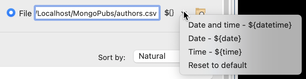 The export destination field has a placeholder menu.