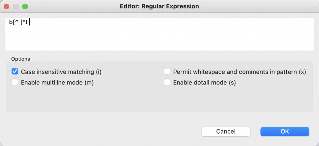 The Regular Expression editor in Studio 3T