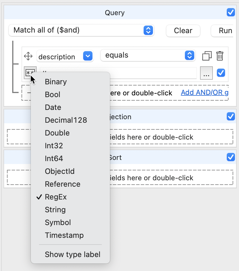 Selecting RegEx for a match in MongoDB